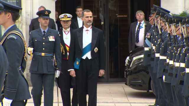 Exterior shots of King Felipe VI of Spain inspecting The Queens Colour Squadron Guard of Honour during a state visit at the Guildhall on 14 July 2017...