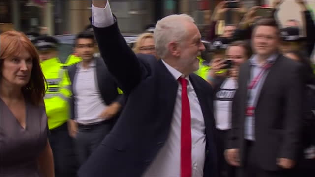 exterior shots of labour leader jeremy corbyn arriving at labour head office and is greeted by wellwishers on 9 june 2017 in london united kingdom - jeremy corbyn stock-videos und b-roll-filmmaterial