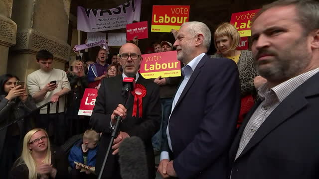exterior shots of labour leader jeremy corbyn being introduced by matt western labour candidate for warwick and leamington and addressing supporters... - leamington spa stock videos & royalty-free footage
