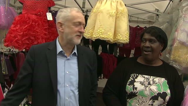 exterior shots of labour leader jeremy corbyn campaigning in thurrock posing for photographs and speaking to supporters and market traders in the... - thurrock stock videos and b-roll footage