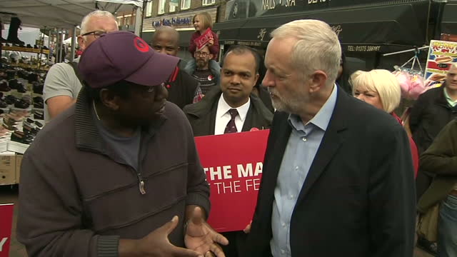 exterior shots of labour leader jeremy corbyn campaigning in thurrock posing for photographs and speaking to supporters and local people in the town... - thurrock stock videos and b-roll footage
