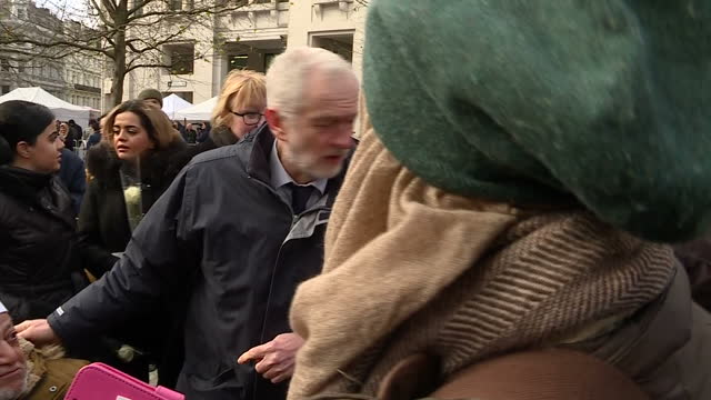 exterior shots of labour leader jeremy corbyn mp speaking with friends and family of victims after the grenfell fire memorial at st paul's cathedral... - greater london stock videos and b-roll footage