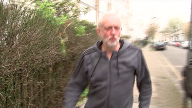 Exterior shots of Labour leader Jeremy Corbyn walking from his home wearing a grey tracksuit on 13 April 2018 in London United Kingdom