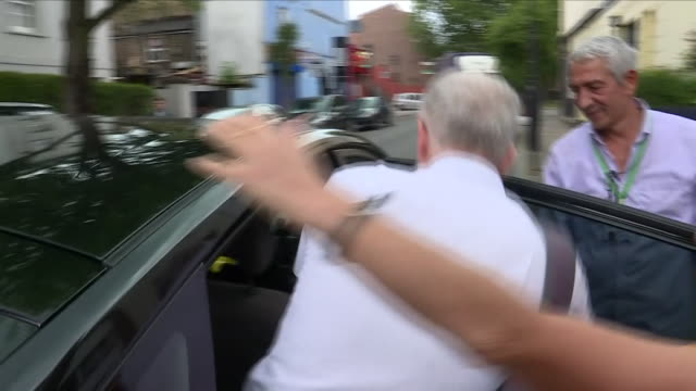 exterior shots of labour leader jeremy corbyn walking from his islington house refusing to answer questions on dame margaret hodge on 17 august 2018... - jeremy corbyn stock videos & royalty-free footage