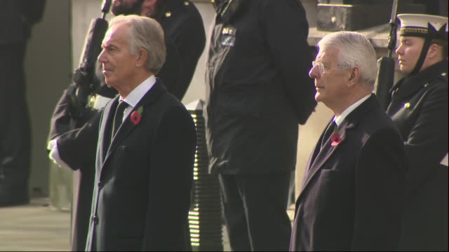 exterior shots of labour leader sir keir starmer, prime minister boris johnson then former prime ministers tony blair and sir john major stood for... - remembrance day stock videos & royalty-free footage