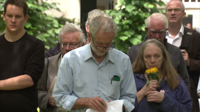 exterior shots of labour leadership hopeful jeremy corbyn mp stood listening to a speech by a campaign for nuclear disarmament campaigner on june 06... - jeremy corbyn stock videos & royalty-free footage