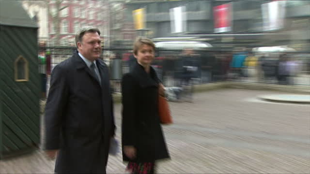 Exterior shots of Labour MPs Ed Ball and Yvette Cooper arriving at Westminster Abbey>> on March 17 2015 in London England