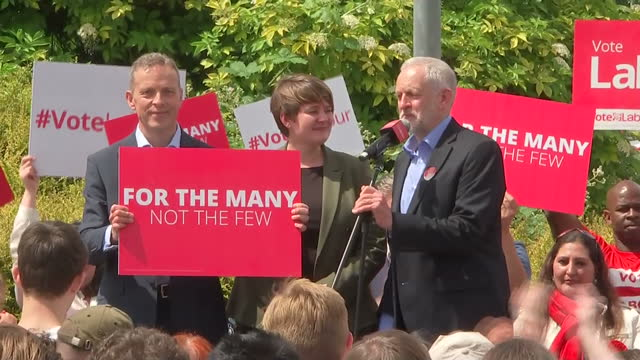 Exterior shots of Labour Party Leader JEremy Corbyn posing for photo op on stage with Labour Candidates Matt Rodda Labours candidate for Reading East...