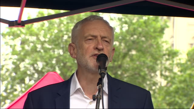 exterior shots of labour party leader jeremy corbyn speaking at the together against trump demonstration in whitehall on 04 june 2019 in london,... - jeremy corbyn stock videos & royalty-free footage
