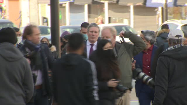 exterior shots of labour party leader sir keir starmer visiting shops along the kingsbury high street on 22nd march 2021 in kingsbury, london, united... - high street stock-videos und b-roll-filmmaterial