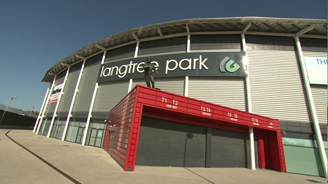 exterior shots of langtree park stadium home ground of st helens rugby league club shot on october 12th 2014 - merseyside stock videos & royalty-free footage
