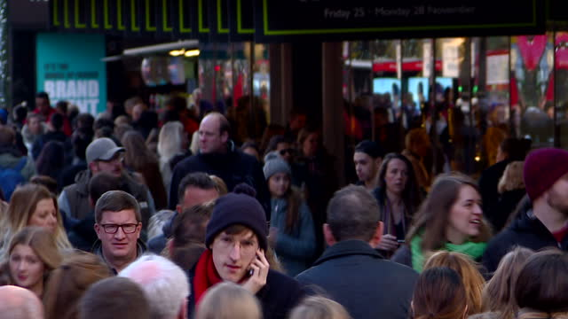 Exterior shots of large crowds of shoppers walking along Oxford Street on Black Friday>> on November 25 2016 in London United Kingdom