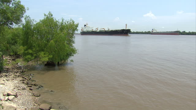 Exterior shots of large tanker barges on the Mississippi River Mississippi River traffic on August 01 2008 in UNSPECIFIED