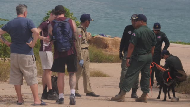 exterior shots of law enforcement with trained dogs and various other people searching for amelia bambridge on 30 october 2019 in koh rong, cambodia - vermißte person stock-videos und b-roll-filmmaterial