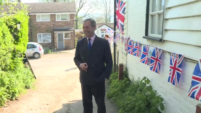 exterior shots of leader of the brexit party nigel farage arriving for visit at shoreham aircraft museum on 21st april 2019 in shoreham, england. - brexit party stock videos & royalty-free footage