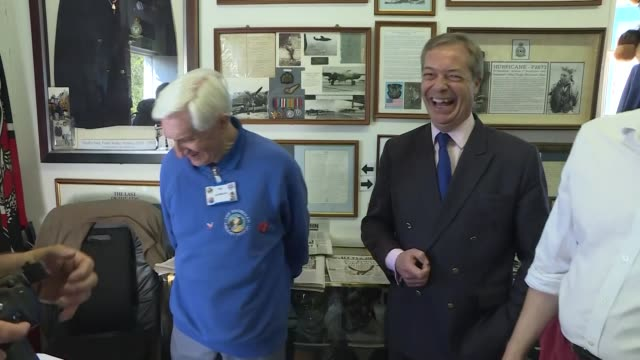 exterior shots of leader of the brexit party nigel farage on his visit at shoreham aircraft museum on 21st april 2019 in shoreham england - nigel farage stock videos & royalty-free footage