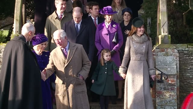 vídeos de stock e filmes b-roll de exterior shots of leaving prince charles camilla duchess of cambridge anne princess royal catherine duchess of cambridge william duke of cambridge... - princesa
