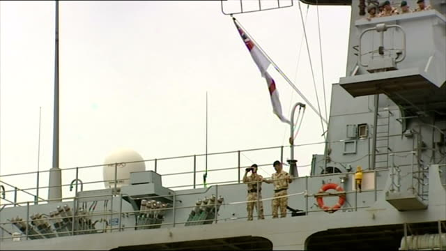 Exterior shots of Lebanese mothers and children boarding HMS Bulwark moored in the port of Beirut during the 2006 conflict between Israel and...