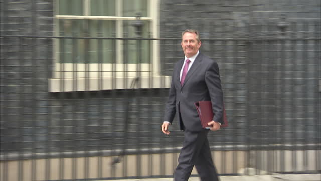 exterior shots of liam fox international trade secretary walking to number 10 downing street on 12 june 2017 in london united kingdom - liam fox politician stock videos and b-roll footage