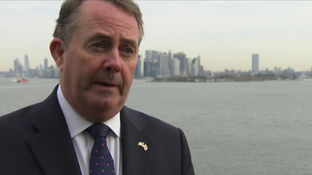 exterior shots of liam fox mp british secretary of state for international trade interview on 22nd october 2018 in new york united states - liam fox politician stock videos and b-roll footage
