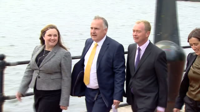 exterior shots of liberal democrat leader tim farron arriving in cardiff to formally launch the welsh liberal democrat general election campaign, and... - typisch walisisch stock-videos und b-roll-filmmaterial