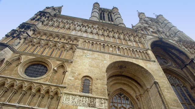 exterior shots of lincoln cathedral - lincolnshire stock videos & royalty-free footage