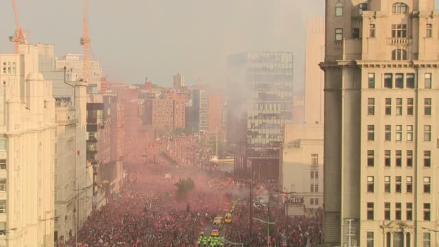 exterior shots of liverpool's champions league victory parade after the win of 2019 uefa champions league final on 02 june 2019 in liverpool united... - uefa champions league stock videos and b-roll footage