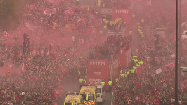 Exterior shots of Liverpool's Champions League victory parade after the win of 2019 UEFA Champions League final on 02 June 2019 in Liverpool United...