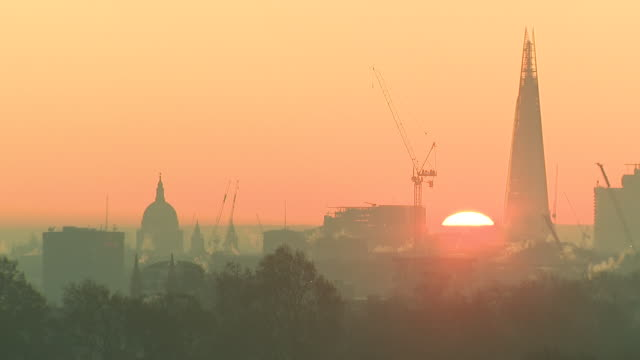 exterior shots of london city skyline at sunrise on 4 december 2019 in london uk - skyline stock videos & royalty-free footage