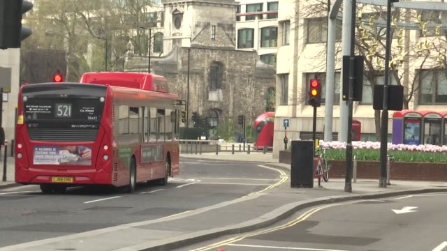 exterior shots of london red buses during the covid-19 outbreak on 8 april 2020 in london, united kingdom - red stock videos & royalty-free footage