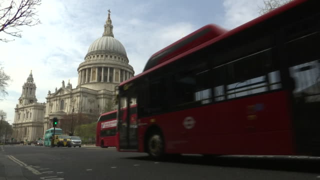 exterior shots of london red buses during the covid19 outbreak on 8 april 2020 in london united kingdom - red stock videos & royalty-free footage
