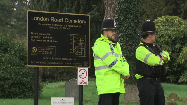 Exterior shots of London Road Cemetery in Salisbury with various police activity after the poisoning of former spy Sergei Skripal on 15 April 2018 in...