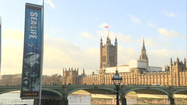 exterior shots of london traffic including double decker buses passing parliament and crossing westminster bridge with sea life centre banners in the... - mariner lebensraum stock-videos und b-roll-filmmaterial
