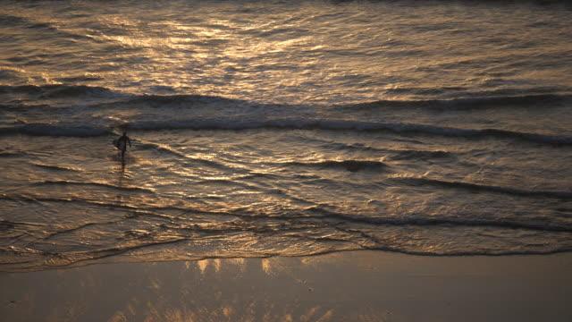 exterior shots of lone surfur on the beach at sunset on 20 april 202 in newlyn beach, united kingdom. - ペンザンス点の映像素材/bロール