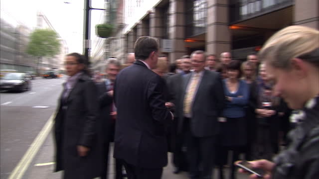 exterior shots of lord mandelson arriving at labour hq in the wake of gordon brown's resignation on may 11 2010 in london england - 2010年点の映像素材/bロール