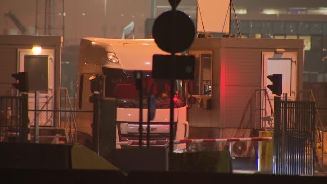 stockvideo's en b-roll-footage met exterior shots of lorries passing through zeebrugge port on the 23 october in zeebrugge belgium - zeebrugge