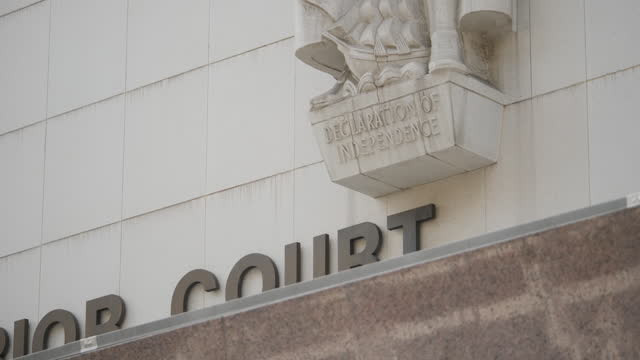 exterior shots of los angeles superior court during britney spears conservatorship hearing on 14th july 2021 los angeles, united states. - courthouse stock videos & royalty-free footage