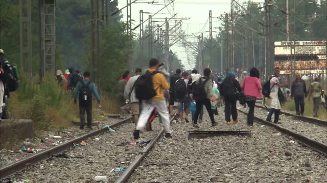 vidéos et rushes de exterior shots of lots of migrants walking along train tracks, shots of a mother with small child camping in tent on august 23, 2015 in idomeni,... - émigration et immigration
