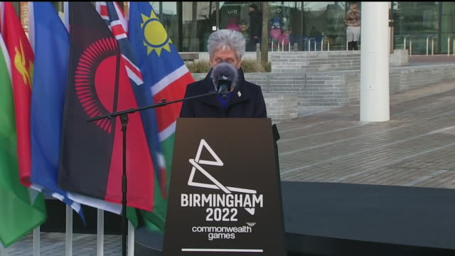 exterior shots of louise martin speaking at the 2022 commonwealth games countdown clock unveiling ceremony on 9th march 2020 in birmingham england - commonwealth games stock videos & royalty-free footage