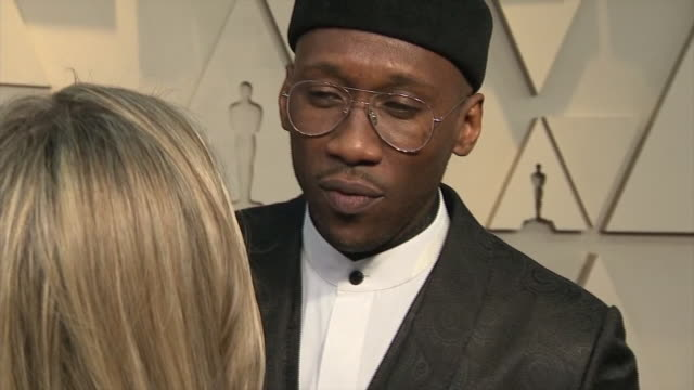 exterior shots of mahershala ali interview on the red carpet of the 91st academy award on 24th february 2019 in los angeles united states - アカデミー賞点の映像素材/bロール