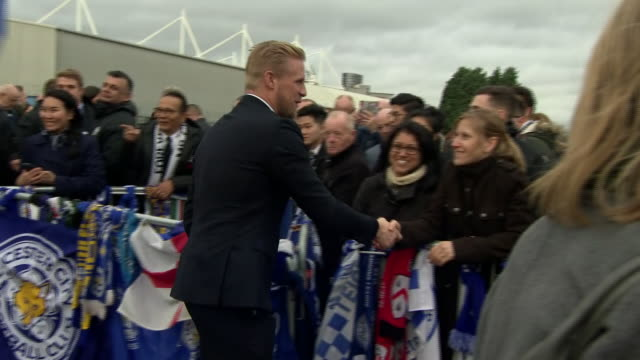 Exterior shots of Manager of Leicester City Claude Puel and players Kasper Schmeichel Jamie Vardy Andy King and Ben Chilwell greeting fans at the...