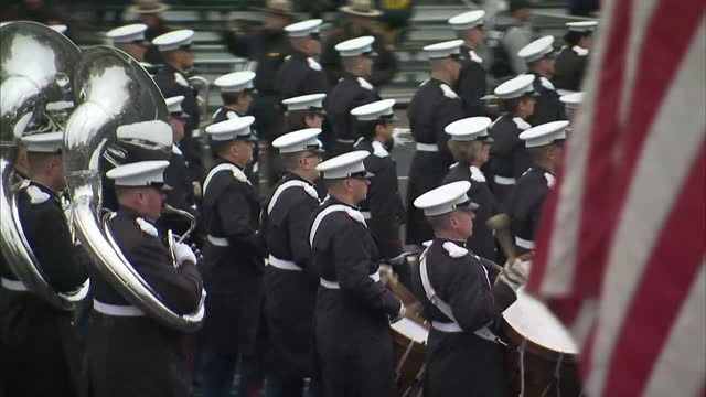 Exterior shots of marching bands taking part in a preinauguration parade on January 20 2017 in Washington DC