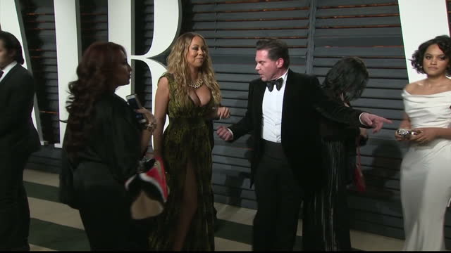 exterior shots of mariah carey arriving at the vanity fair oscar party on february 27 2017 in los angeles california - oscar party stock-videos und b-roll-filmmaterial