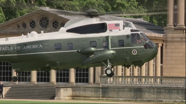 exterior shots of marine one helicopter landing on the lawn of buckingham palace carrying donald trump on 3 june 2019 in london united kingdom - state visit stock videos & royalty-free footage