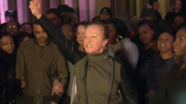 exterior shots of mark duggan's legal team marcia willis stewart and family shaun hall & carol duggan giving press conference after jury announced... - juror law stock videos & royalty-free footage