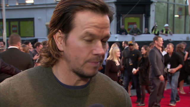 Exterior shots of Mark Wahlberg being interviewed about his work on the Deepwater Horizon at the film's London premiere at Leicester Square on...
