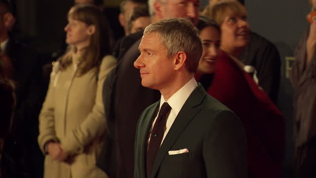 exterior shots of martin freeman attending the royal world premiere of 'spectre' at royal albert hall on october 26 2015 in london england - spectre 2015 film stock videos and b-roll footage