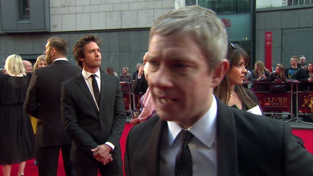exterior shots of martin freeman giving an interview on the red carpet at the olivier awards on april 13 2014 in london united kingdom - martin freeman stock videos and b-roll footage
