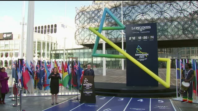 exterior shots of matthieu baumgartner speaking at the 2022 commonwealth games countdown clock unveiled ceremony on 9th march 2020 in birmingham... - commonwealth games stock videos & royalty-free footage
