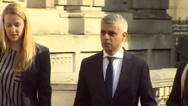 exterior shots of mayor of london sadiq khan arriving at the cabinet office in whitehall to attend a meeting of the cobra emergency committee... - sadiq khan stock videos & royalty-free footage